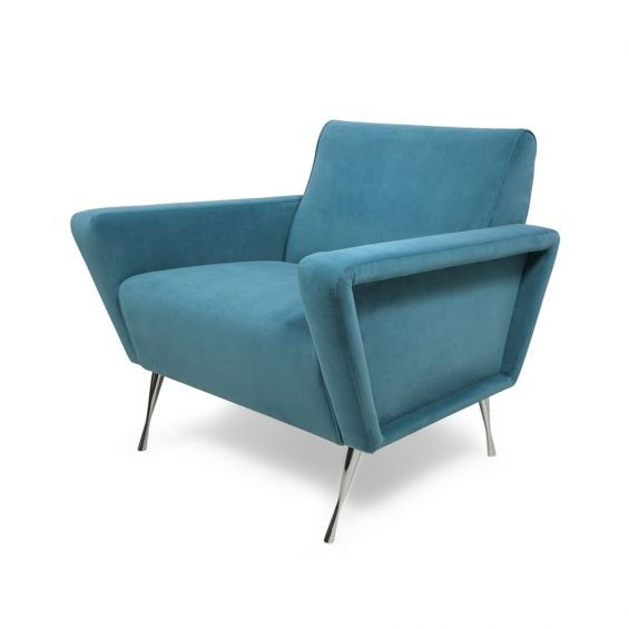 A stylish mid-century modern armchair with a futuristic feel and metal legs
