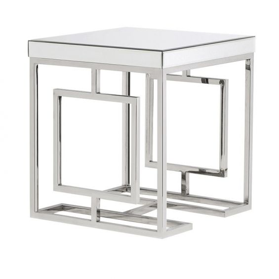 Deco Mirrored Side Table - Silver