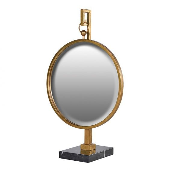 Brass And Marble Hanging Mirror