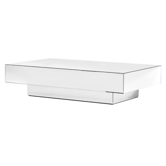 Cubic shaped, mirrored finish coffee table