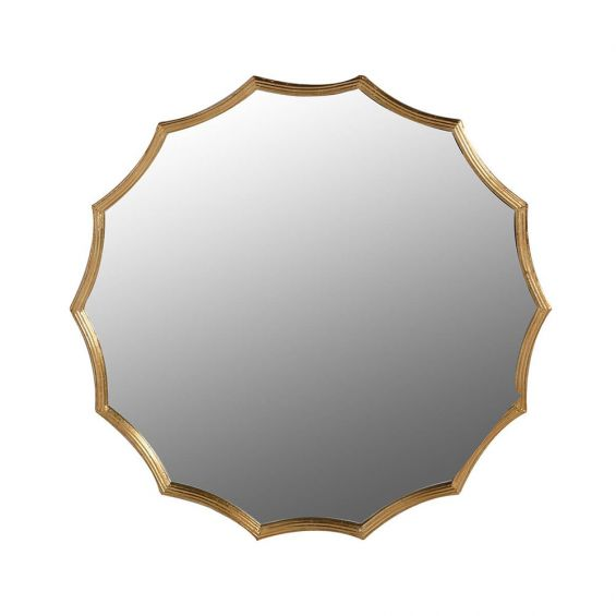A glamorous early-century inspired wall mirror in an antique brass finish