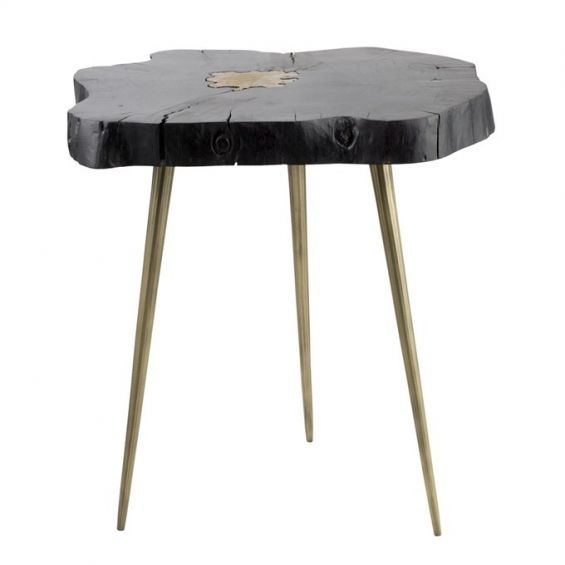 acacia wood side table with gold tapered legs