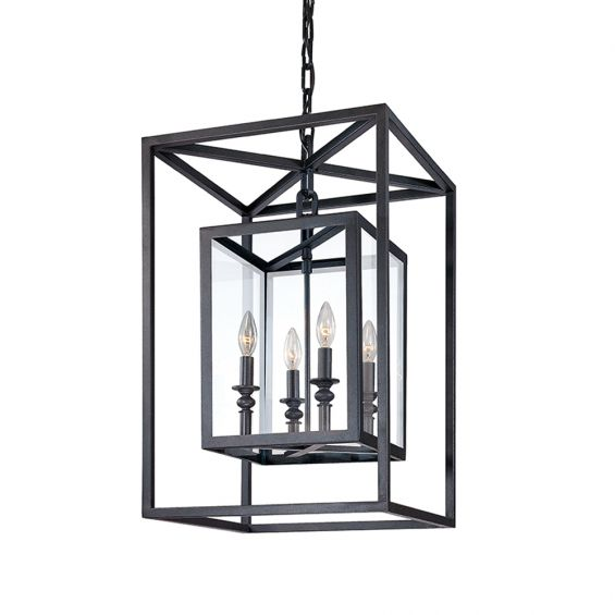 A lantern style chandelier by Hudson Valley that combines contemporary and gothic styles