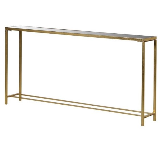 Slim, antique gold finished console table with glass tabletop
