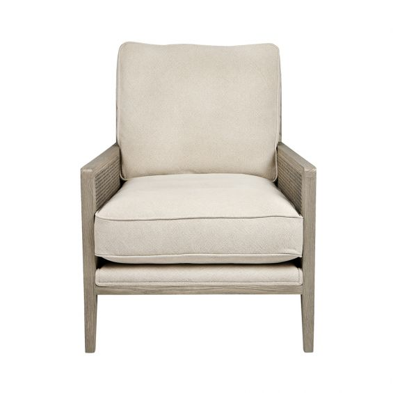 greyed ash wood chair with caned detailing and cotton cushions