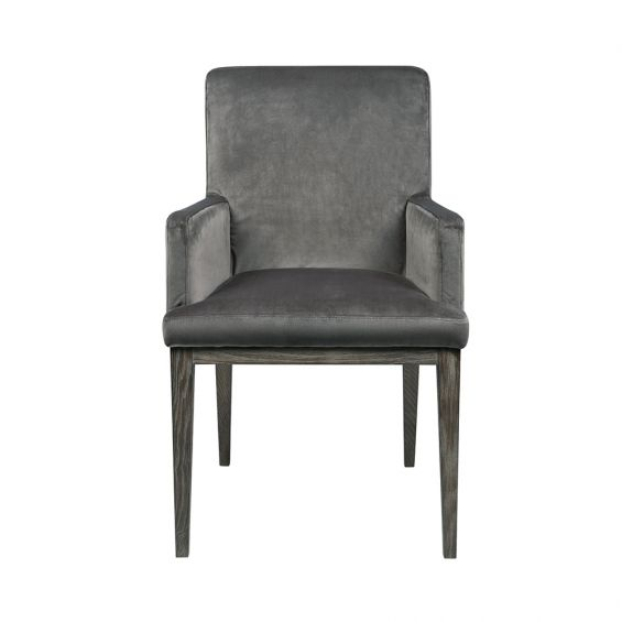 taupe velvet armchair with espresso ash wood legs