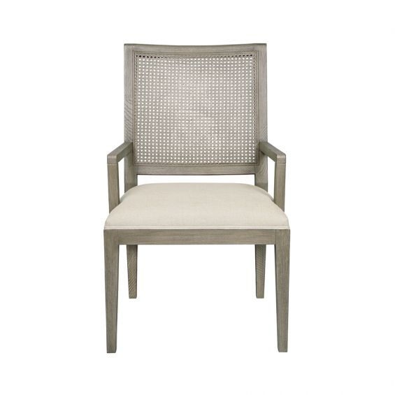 natural armchair with woven panel and linen seat