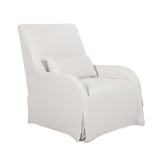 Pearl, linen armchair with removable cover