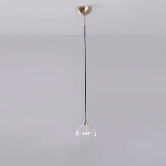 Industrial natural brass pendant light with clear glass sphere globe lampshade