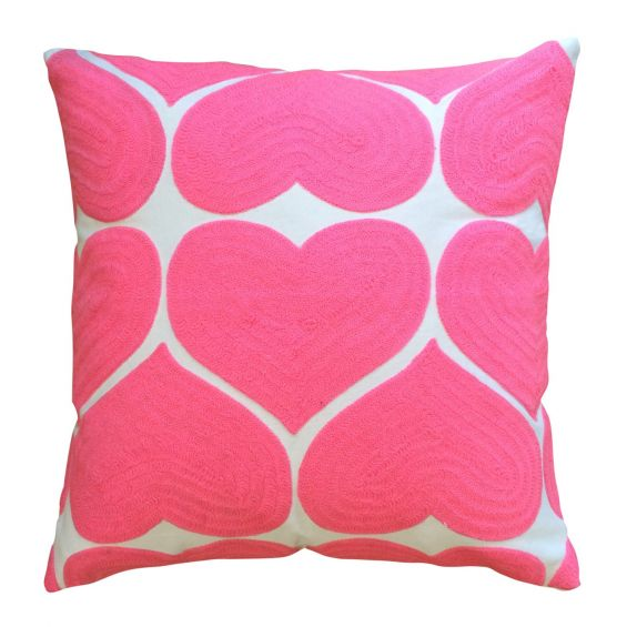 Square embroidered pink heart patterned cushion