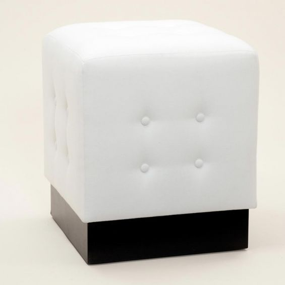 Square footstool with button detail on thick square base