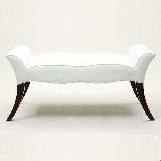 Curvy style bench with piping detail and curved legs