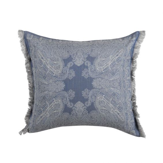 An elegant grey and blue toned cushion with a duck feather inner cushion