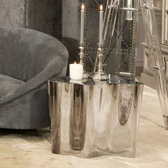 Luxury mirrored polished stainless steel curved side table