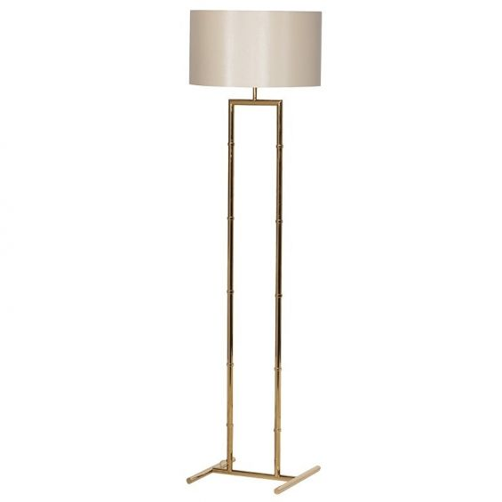 Chic, gold bamboo-like stemmed floor lamp with sheer shade