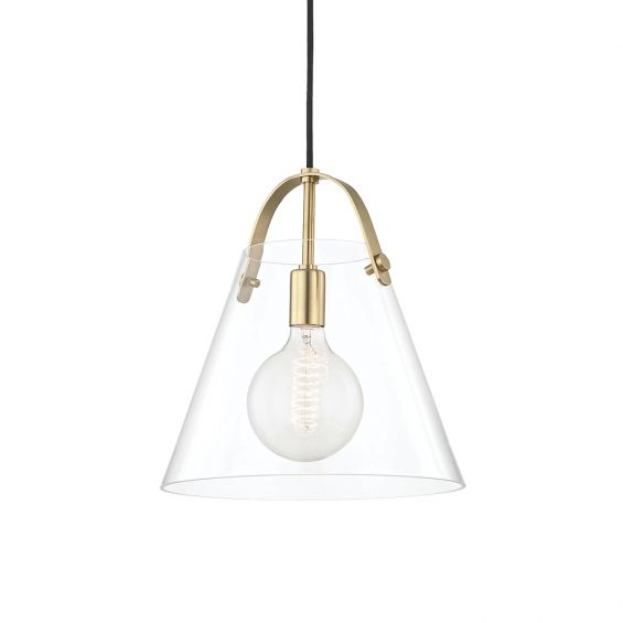 A contemporary clear glass bell-shaped pendant with an industrial feel by Hudson Valley