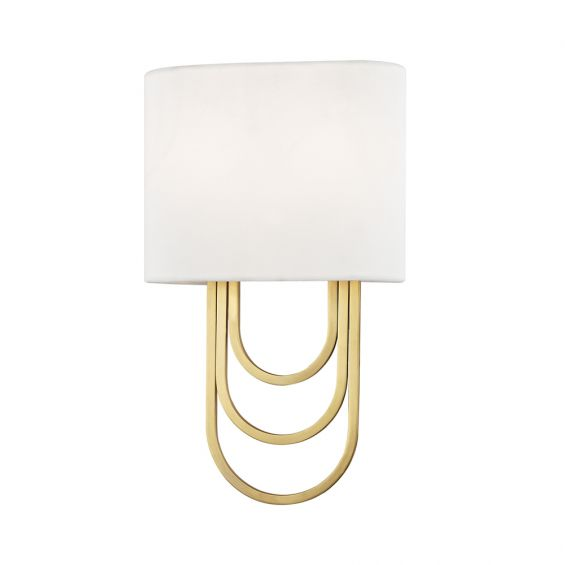 A glamorous wall sconce by Hudson Valley Farah with draped steel loops and an off-white linen shade
