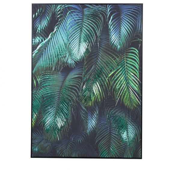 Green and black tropical palm print