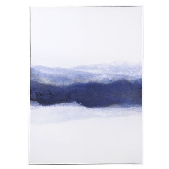 Blue abstract canvas with glossy white frame