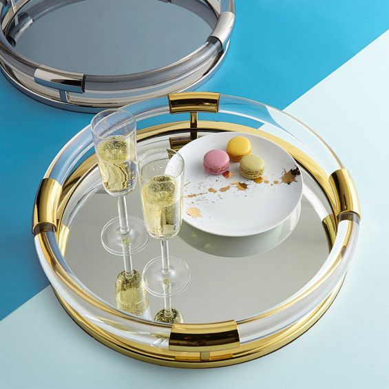 A stunning acrylic and polished brass tray