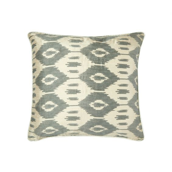 Grey square silk cushion with aztec pattern