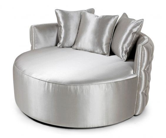 Luxurious love seat with deep buttoning and chrome studding in a silk finish