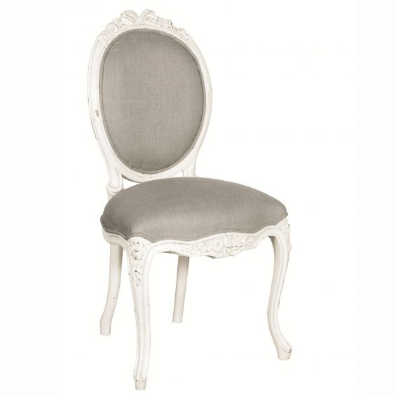 French-style grey and white chair