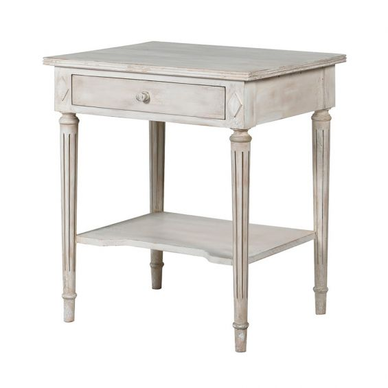 Gorgeous French-style antique white side table with one drawer