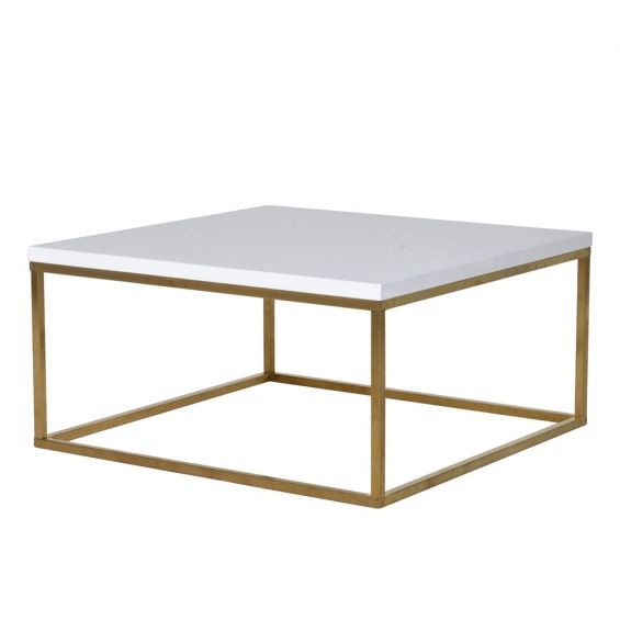 Cube shaped coffee table, glossy white table top with gold finished legs