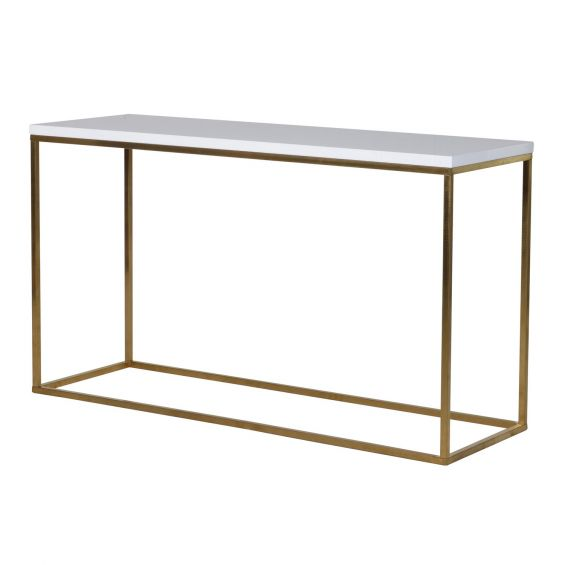 Rectangular shaped console table, glossy white table top with gold finished legs