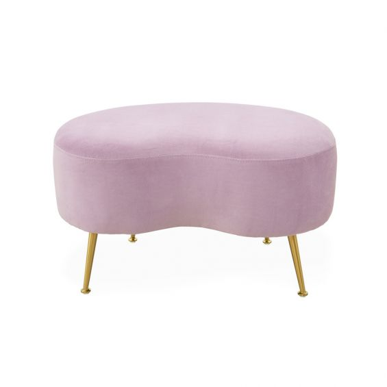 A glamorous pastel lavender ottoman with polished brass legs