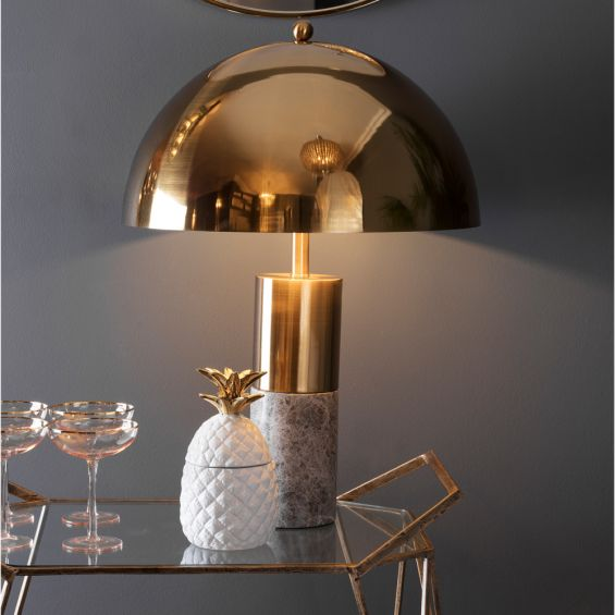 Contemporary grey marble base table lamp with brass dome-like shade