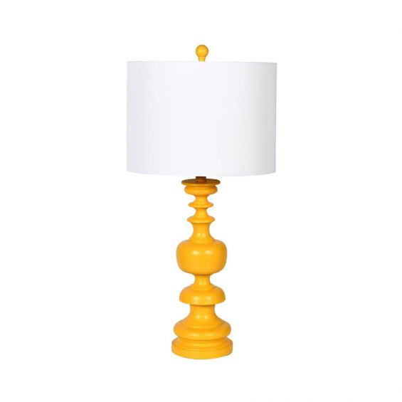 Yellow turned wood table lamp with white shade