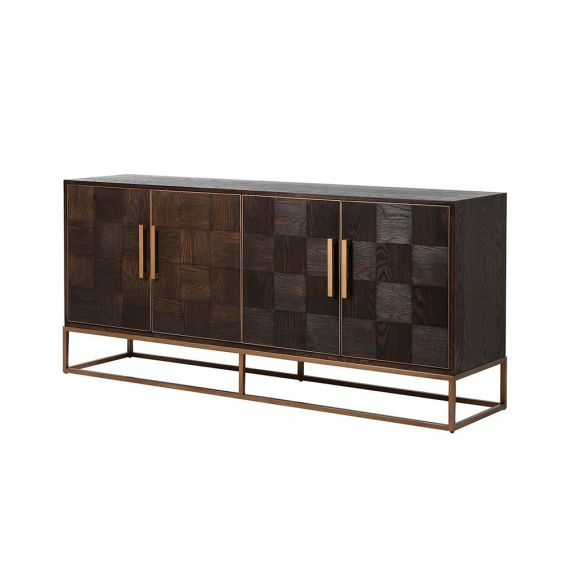 checkerboard wooden sideboard with brass-effect detaining and frame