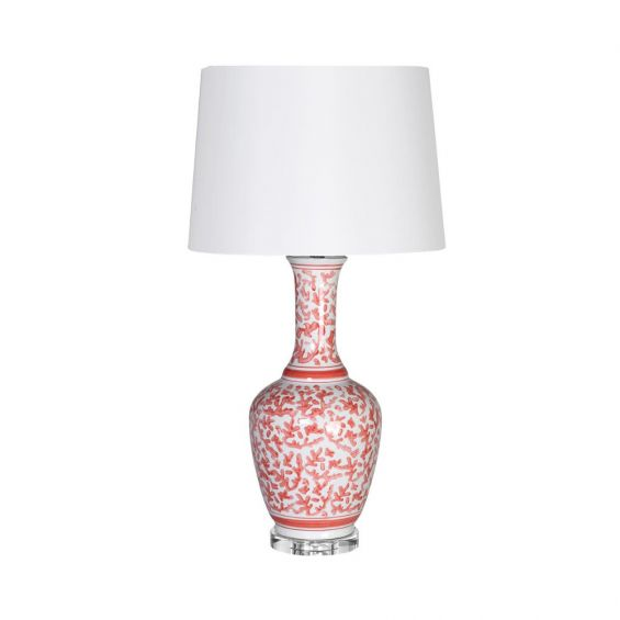 Coral and white floral table lamp with glass base and white shade