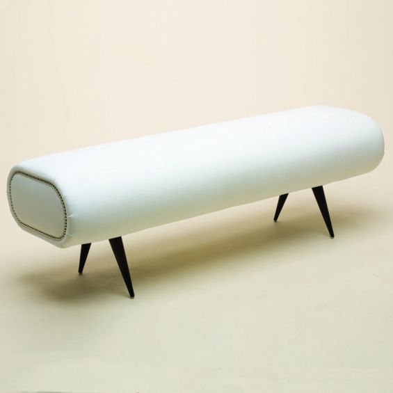 Contemporary, rounded edge bench with studded detailing