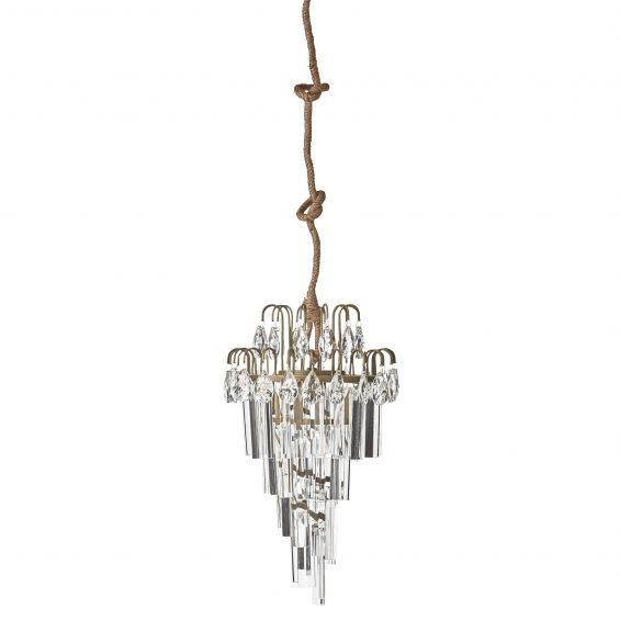 gold crystal glass droplet chandelier with rope