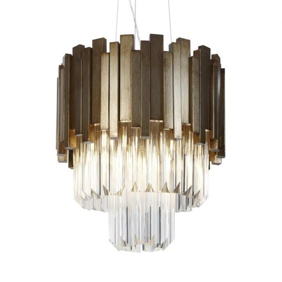 Contemporary, 3-tiered hanging glass chandelier