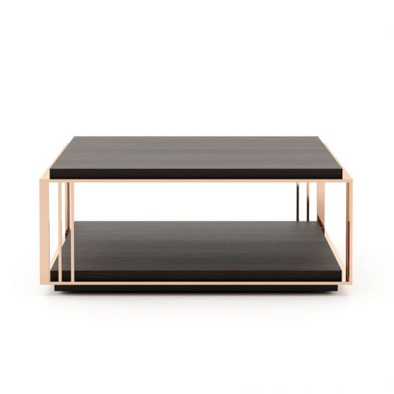 A stylish coffee table made from eucalyptus wood and copper-plated stainless steel