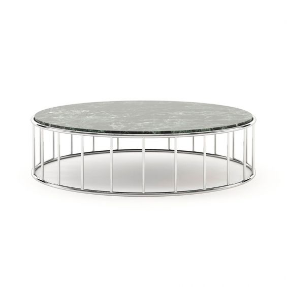 A chic coffee table with a stainless steel frame and a green marble surface