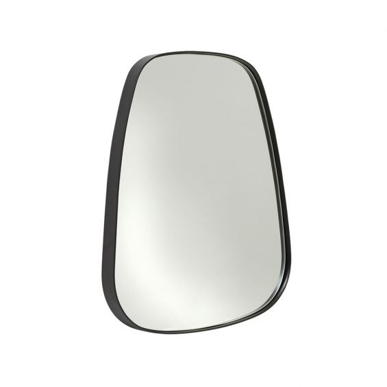 Stylish matte black mirror with curved edging