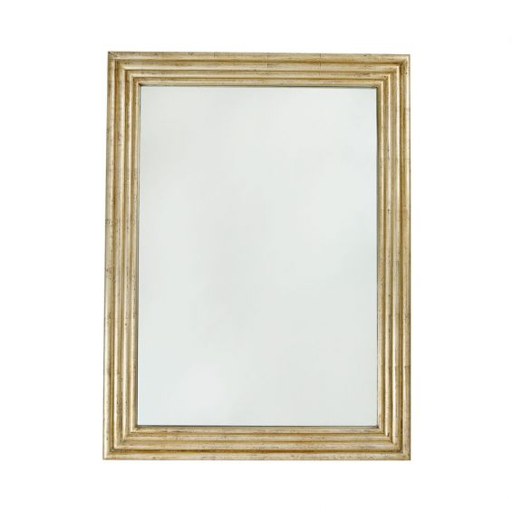 large, rectangular mirror with antiqued gold finish