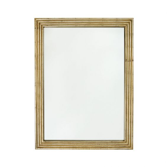 golden rectangle mirror with antiqued finish