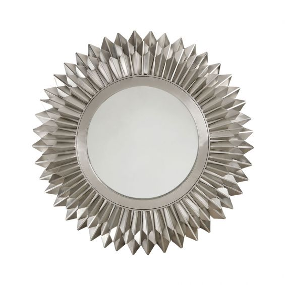 round contemporary mirror with nickel-effect finish