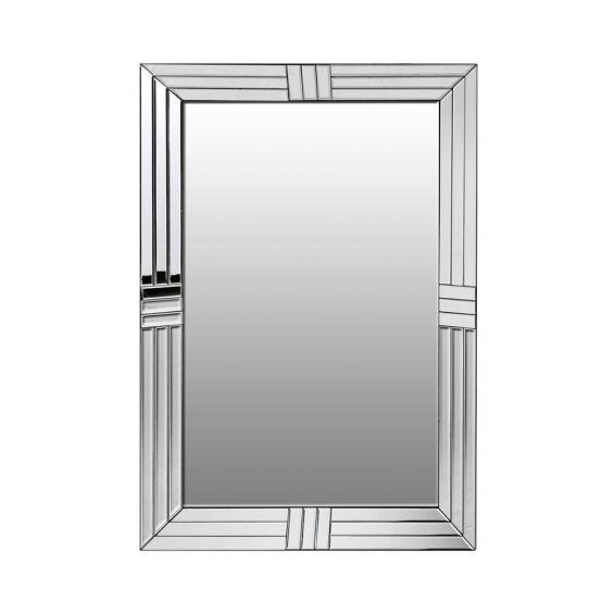 A dazzling silver art deco-inspired wall mirror