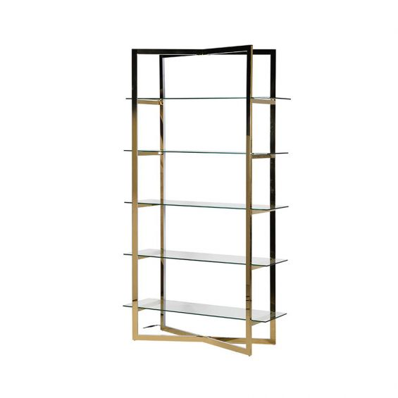 glass and gold shelving unit
