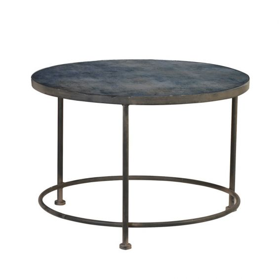 distressed, industrial coffee table with a tinted-glass surface