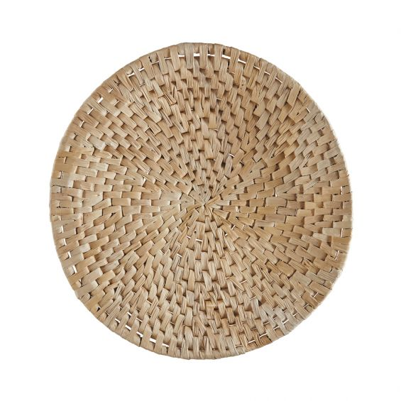 A round, natural abaca wood and iron wall decoration