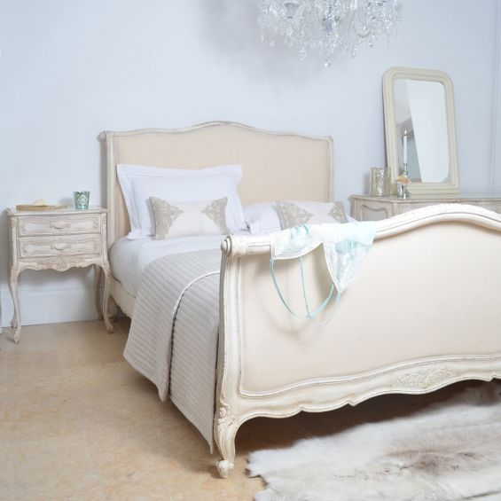 Distressed cream french style king-size bed