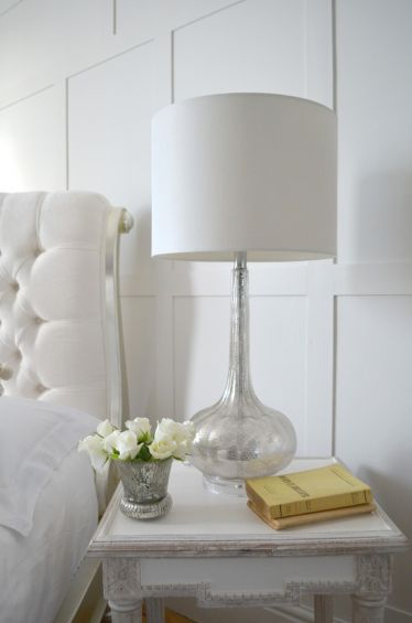 Shimmering glass base table lamp with white shade